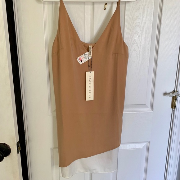 state of being Dresses & Skirts - Tan cami dress with white slip